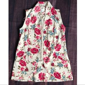 Daniel Rainn Floral Sleeveless Vest Cardigan Small